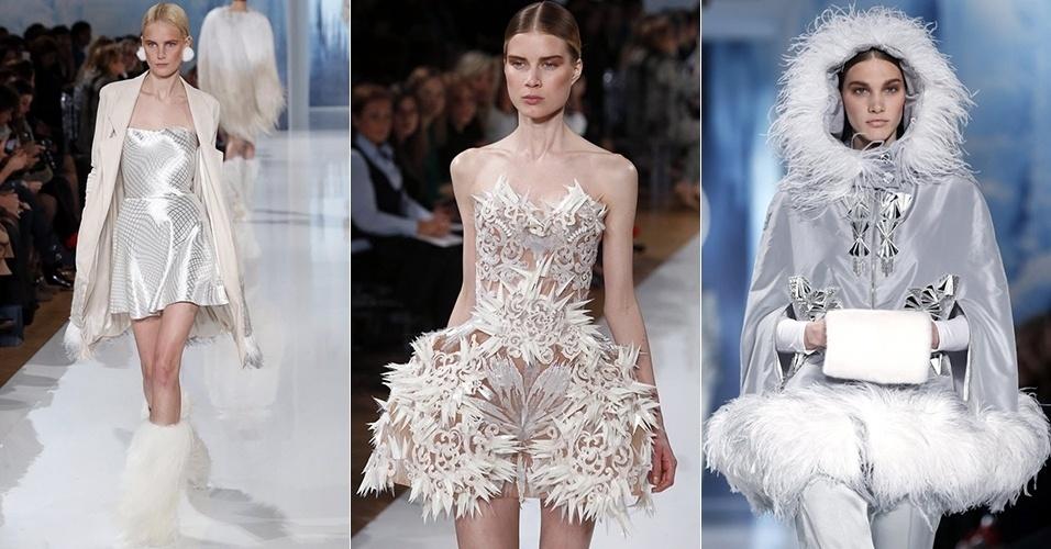 Modelos apresentam looks de Valentin Yudashkin para o Inverno 2013 durante a semana de moda de Paris (04/03/2013)