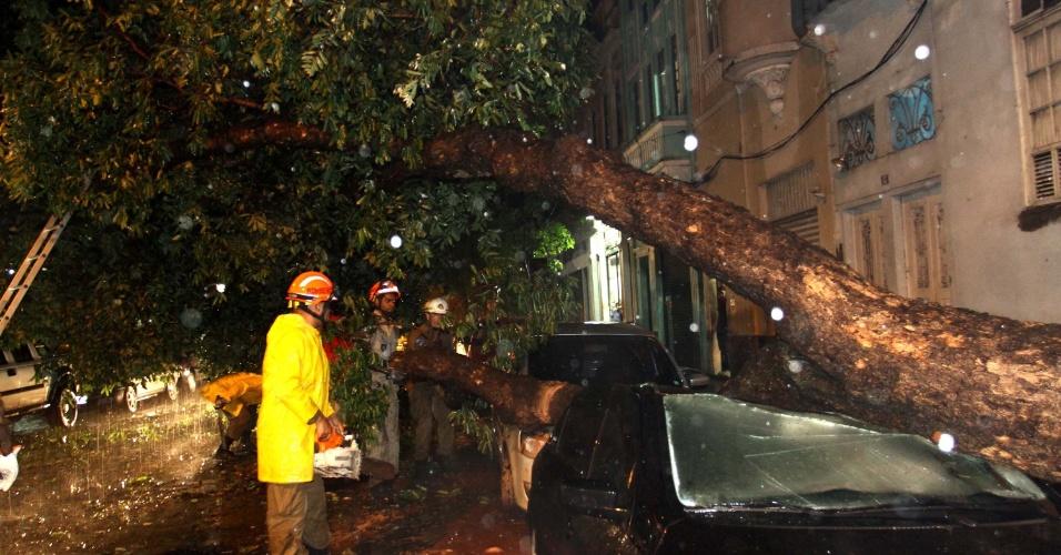 5.mar.2013 - Árvore cai sobre dois veículos após temporal atingir a rua Carlos de Carvalho, no centro do Rio de Janeiro (RJ), nesta terça-feira. Não há informação sobre feridos