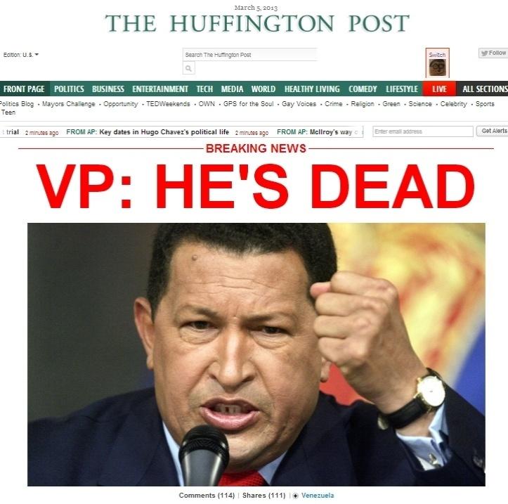 """5.mar.2013 - Em letras garrafais, o jornal norte-americano """"The Huffington Post"""" anuncia """"Ele está morto"""" sobre a morte do presidente venezuelano, Hugo Chávez, 58, nesta terça-feira, vítima de um câncer na região pélvica, com o qual convivia há cerca de um ano e meio"""