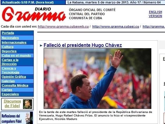 """5.mar.2013 - O diário """"Granma"""", do Partido Comunista cubano, destaca a a morte do presidente venezuelano, Hugo Chávez, aos 58 anos em decorrência de um câncer. O presidente foi vítima de um câncer na região pélvica, com o qual convivia há cerca de um ano e meio, e que tentou tratar em Cuba"""