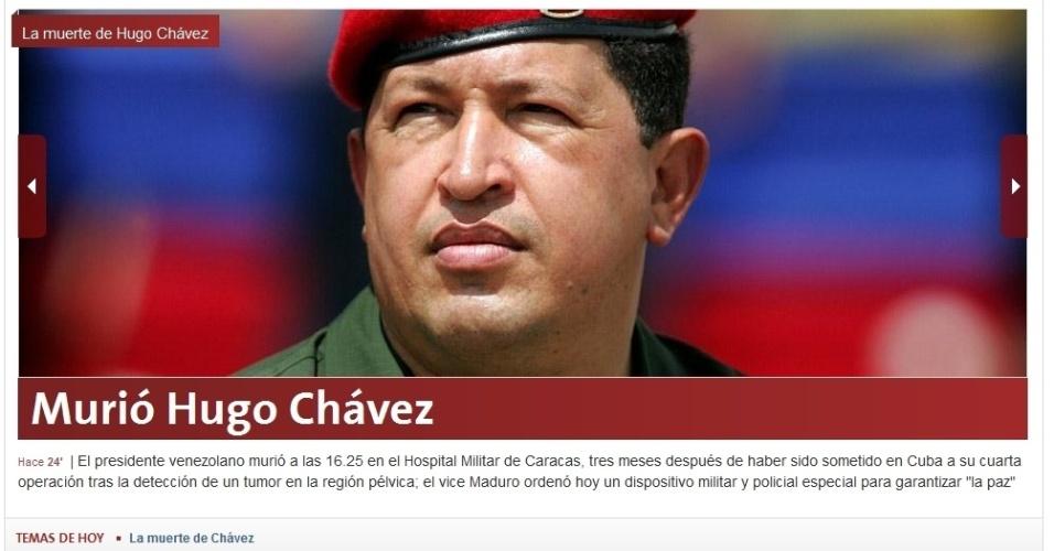 """5.mar.2013 - O jornal argetino """"La Nación"""" destaca a morte do presidente venezuelano, Hugo Chávez, 58, nesta terça-feira, com o título """"Morreu Hugo Chávez"""". O presidente foi vítima de um câncer na região pélvica, com o qual convivia há cerca de um ano e meio"""