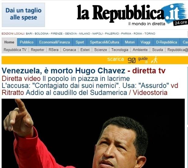 """5.mar.2013 - O jornal italiano """"La Reppublica"""" destaca a morte do presidente venezuelano, Hugo Chávez, nesta terça-feira, com uma de suas frases """"Até a vitória sempre"""". O presidente foi vítima de um câncer na região pélvica, com o qual convivia há cerca de um ano e meio, aos 58 anos"""