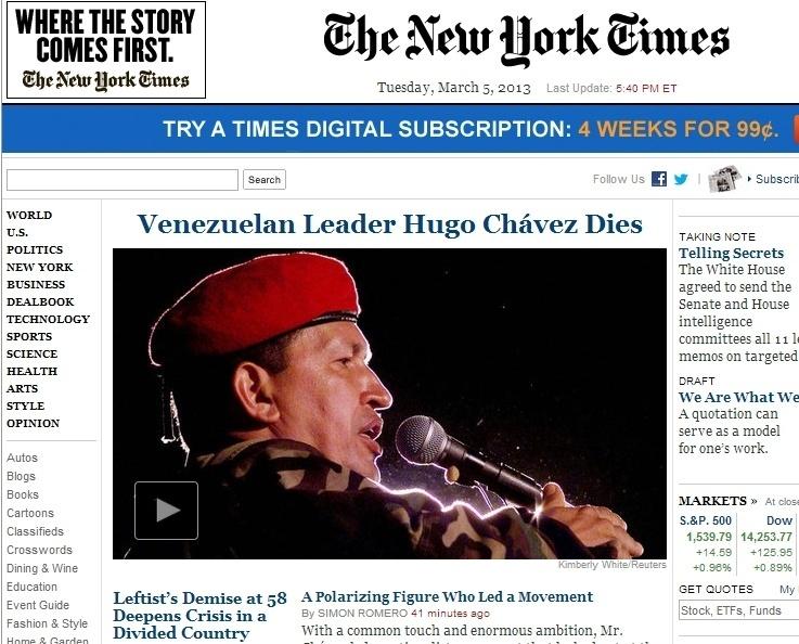 """5.mar.2013 - O jornal norte-americano """"The New York Times"""" anuncia a morte do """"líder venezuelano"""", o presidente do país, Hugo Chávez, nesta terça-feira. Ele foi vítima aos 58 anos de um câncer na região pélvica, com o qual convivia há cerca de um ano e meio"""