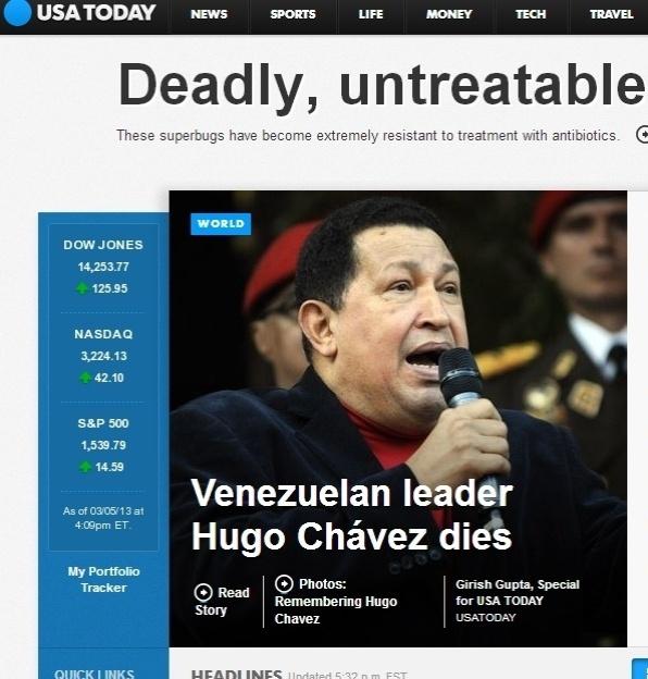 """5.mar.2013 - O jornal norte-americano """"USA Today"""" anuncia a morte do presidente da Venezuela, Hugo Chávez, nesta terça-feira. Ele foi vítima aos 58 anos de um câncer, com o qual convivia há cerca de um ano e meio"""