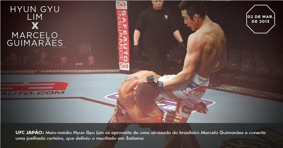 Meio-médio Hyun Gyu Lim se aproveita de uma abaixada do brasileiro Marcelo Guimarães e conecta uma joelhada certeira, que definiu o resultado em Saitama