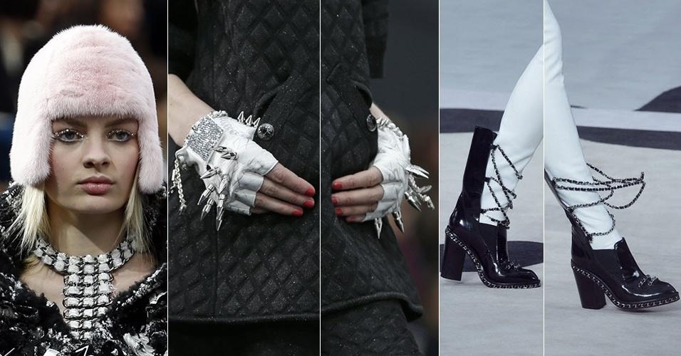 Modelos apresentam acessórios da Chanel para o Inverno 2013 durante a semana de moda de Paris (05/03/2013)