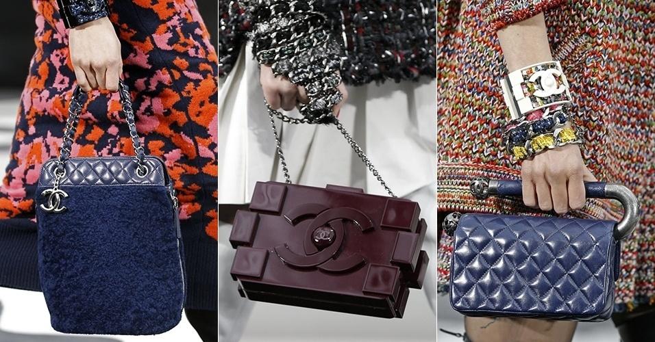 Modelos apresentam bolsas da Chanel para o Inverno 2013 durante a semana de moda de Paris (05/03/2013)