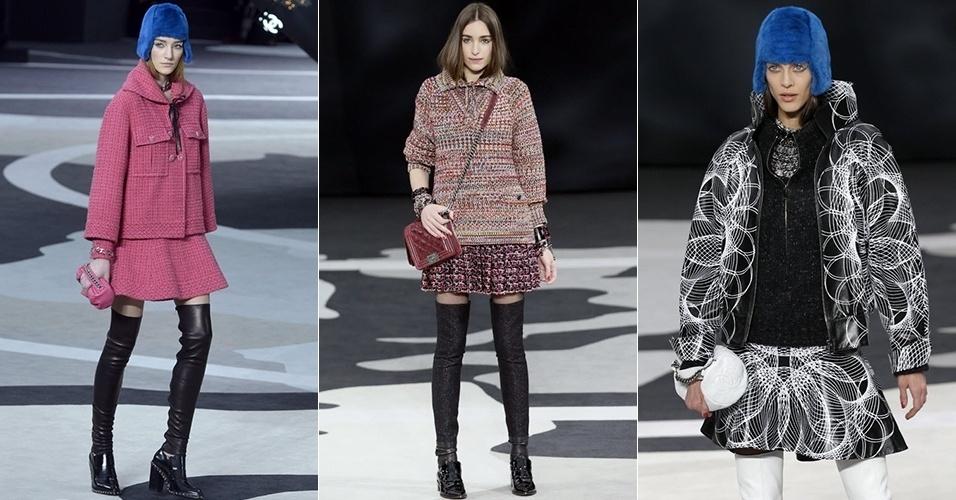 Modelos apresentam looks da Chanel para o Inverno 2013 durante a semana de moda de Paris (05/03/2013)