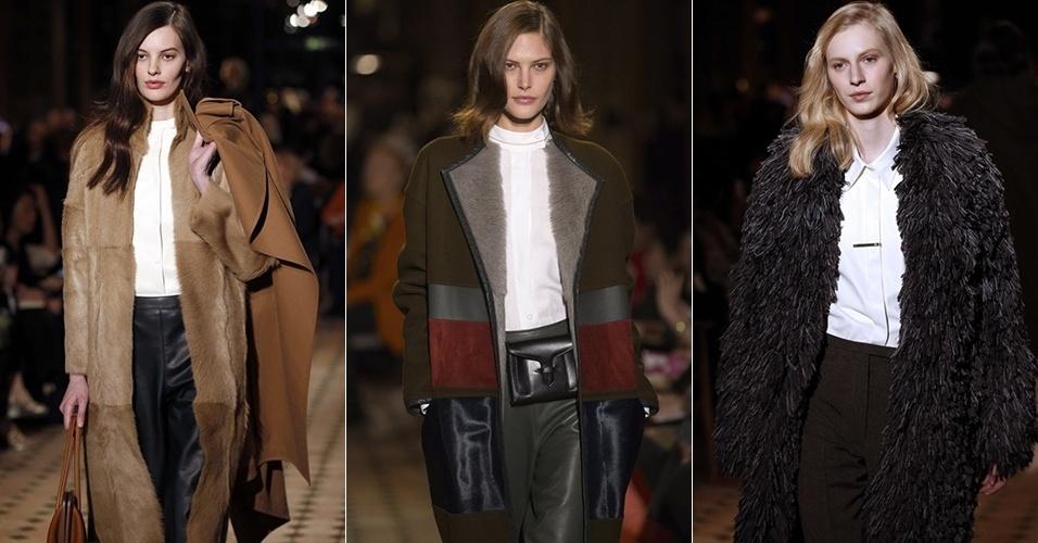 Modelos apresentam looks da Hermès para o Inverno 2013 durante a semana de moda de Paris (05/03/2013)