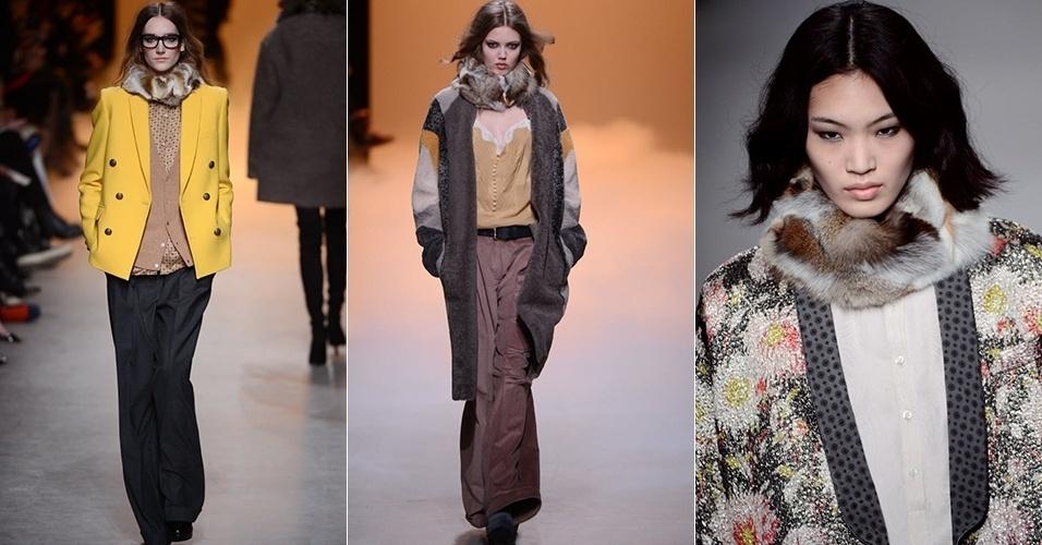 Modelos apresentam looks da Paul & Joe para o Inverno 2013 durante a semana de moda de Paris (05/03/2013)