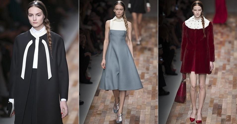 Modelos apresentam looks da Valentino para o Inverno 2013 durante a semana de moda de Paris (05/03/2013)