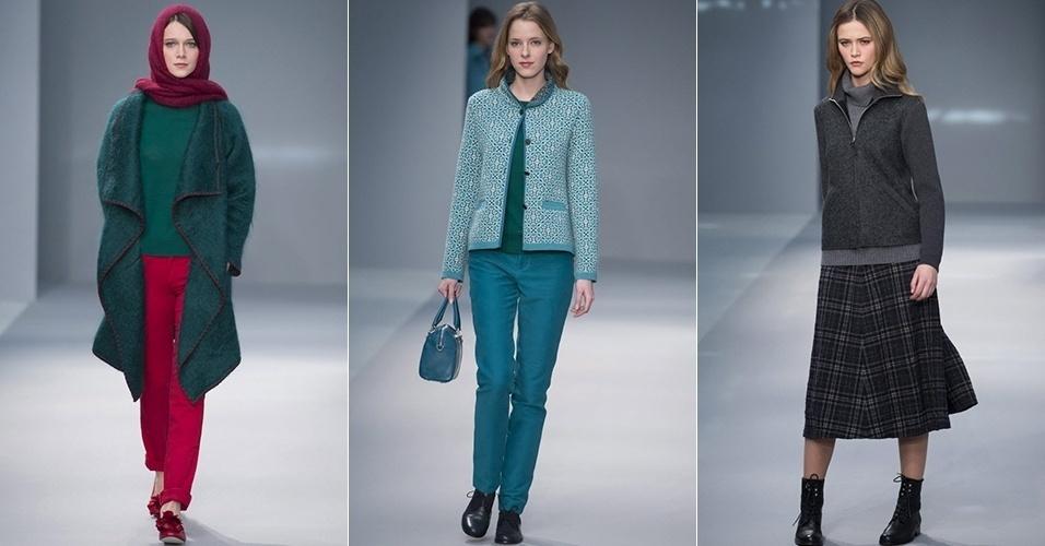 Modelos apresentam looks de Agnès B. para o Inverno 2013 durante a semana de moda de Paris (05/03/2013)