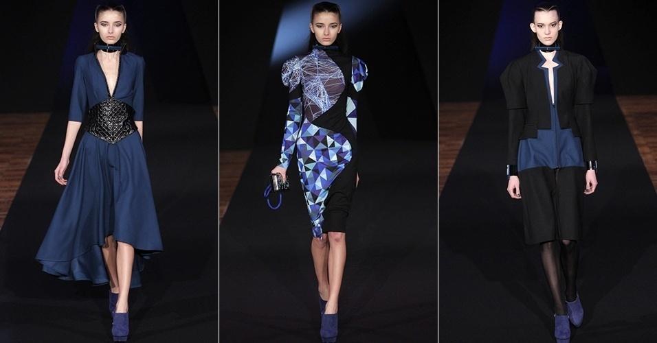 Modelos apresentam looks de Fatima Lopes para o Inverno 2013 durante a semana de moda de Paris (05/03/2013)