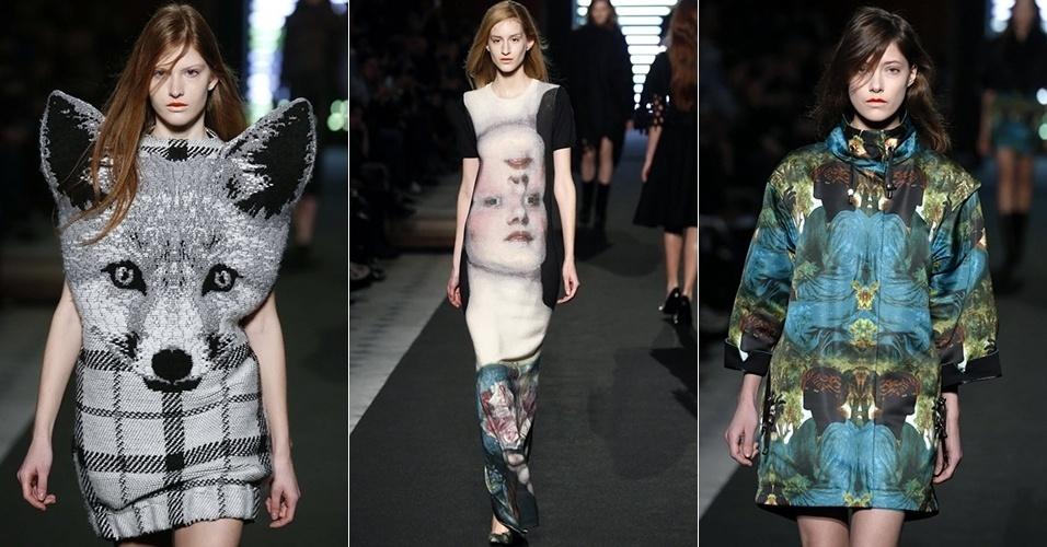 Modelos apresentam looks de Jean-Charles de Castelbajac para o Inverno 2013 durante a semana de moda de Paris (05/03/2013)