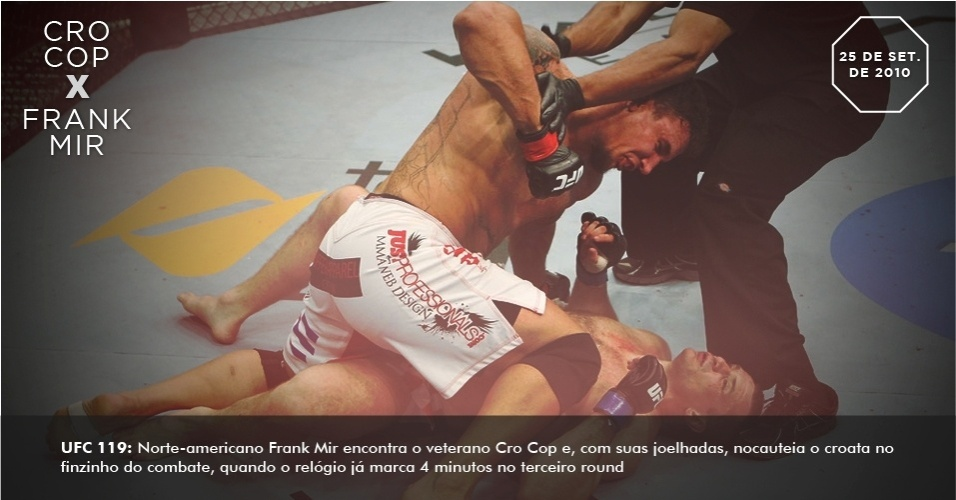 UFC 119: Norte-americano Frank Mir encontra o veterano Cro Cop e, com suas joelhadas, nocauteia o croata no finzinho do combate, quando o relgio j marca 4 minutos no terceiro round.
