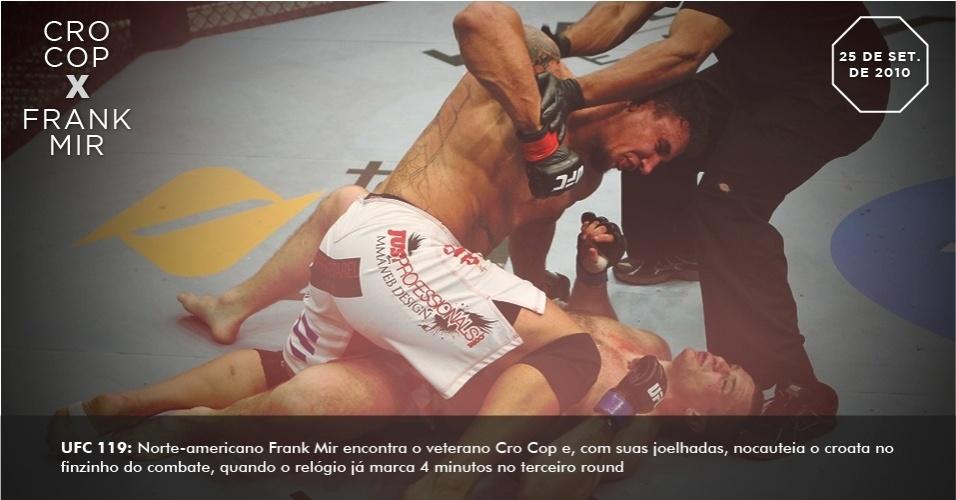 UFC 119: Norte-americano Frank Mir encontra o veterano Cro Cop e, com suas joelhadas, nocauteia o croata no finzinho do combate, quando o relógio já marca 4 minutos no terceiro round.