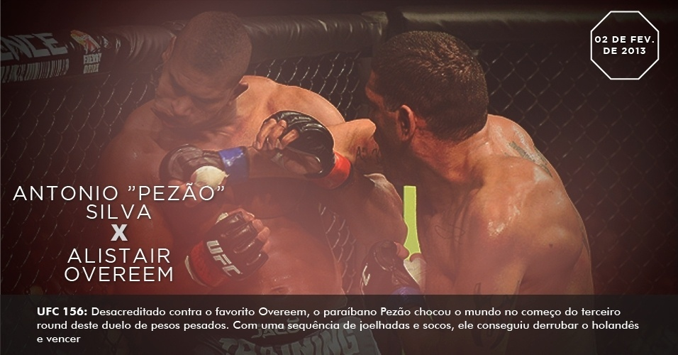 UFC 156: Desacreditado contra o favorito Overeem, o parabano Pezo chocou o mundo no comeo do terceiro round deste duelo de pesos pesados. Com uma sequncia de joelhadas e socos, ele conseguiu derrubar o holands e vencer 2 de fevereiro de 2013