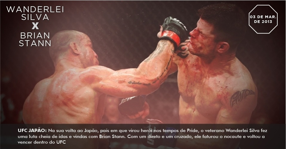 UFC Japo: Na sua volta ao Japo, pas em que virou heri nos tempos de Pride, o veterano Wanderlei Silva fez uma luta cheia de idas e vindas com Brian Stann. Com um direto e um cruzado, ele faturou o nocaute e voltou a vencer dentro do UFC