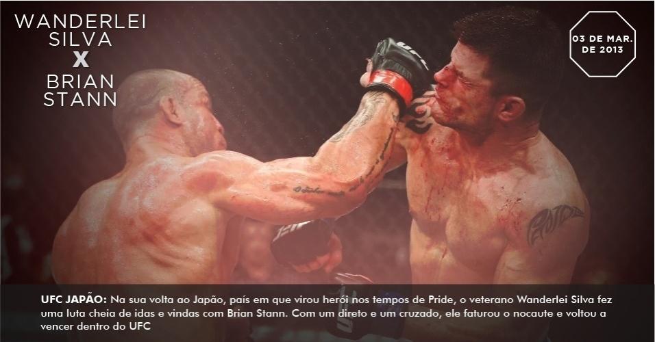 UFC Japão: Na sua volta ao Japão, país em que virou herói nos tempos de Pride, o veterano Wanderlei Silva fez uma luta cheia de idas e vindas com Brian Stann. Com um direto e um cruzado, ele faturou o nocaute e voltou a vencer dentro do UFC
