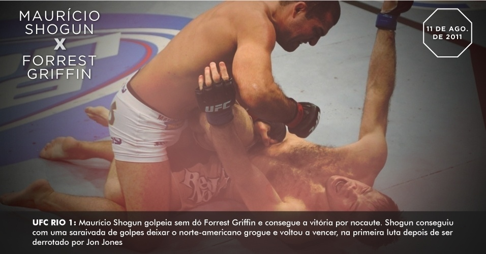 UFC Rio 1: Maurcio Shogun golpeia sem d Forrest Griffin e consegue a vitria por nocaute. Shogun conseguiu com uma saraivada de golpes deixar o norte-americano grogue e voltou a vencer, na primeira luta depois de ser derrotado por Jon Jones