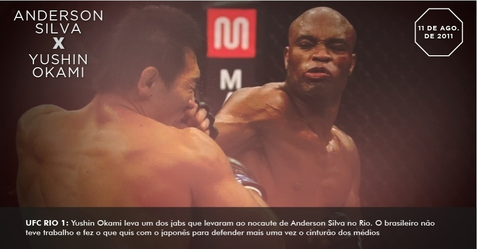 UFC Rio 1: Yushin Okami leva um dos jabs que levaram ao nocaute de Anderson Silva no Rio. O brasileiro no teve trabalho e fez o que quis com o japons para defender mais uma vez o cinturo dos mdios