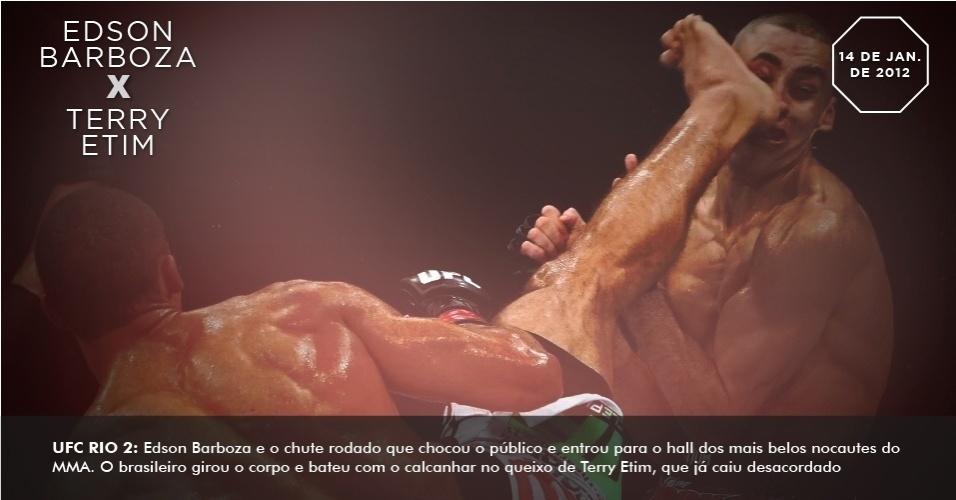 UFC Rio 2: Edson Barboza e o chute rodado que chocou o público e entrou para o hall dos mais belos nocautes do MMA. O brasileiro girou o corpo e bateu com o calcanhar no queixo de Terry Etim, que já caiu desacordado