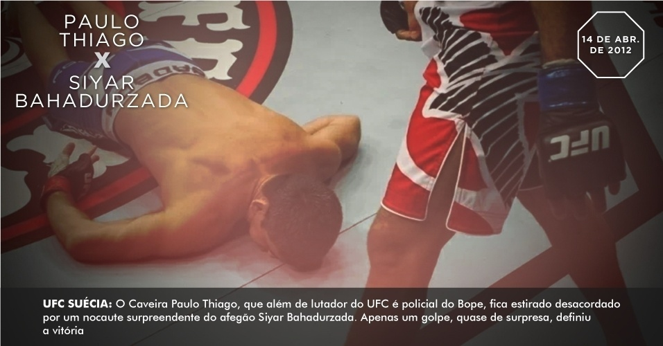 UFC Sucia: O Caveira Paulo Thiago, que alm de lutador do UFC  policial do Bope, fica estirado desacordado por um nocaute surpreendente do afego Siyar Bahadurzada. Apenas um golpe, quase de surpresa, definiu a vitria