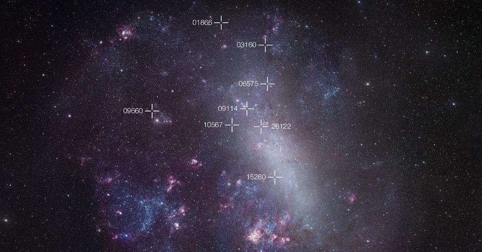 6.mar.2013 - Fotografia mostra a Grande Nuvem de Magalhães, galáxia vizinha da Via Láctea. Ao analisar a posição de oito eclipses em estrelas binárias, os astrônomos do Observatório Europeu Austral (ESO, em inglês) puderam determinar que a galáxia está a 136 mil anos-luz de distância. Os eclipses são marcados na imagem com os sinais '+' porque são pouco brilhantes para aparecer na imagem