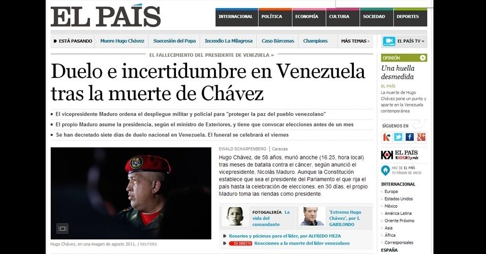 """6.mar.2013 - """"Dúvidas e incertezas na Venezuela após morte de Chávez"""" é a manchete do site do jornal espanhol """"El País"""". O presidente morreu na terça-feira (5), aos 58 anos, vítima de um câncer na região pélvica"""