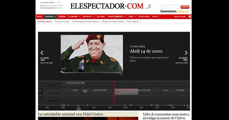 """6.mar.2013 - Em seu site, o jornal """"El Espectador"""", da Colômbia, publicou uma linha do tempo com a trajetória de Hugo Chávez e matérias sobre """"a cativante amizade"""" com Fidel Castro, ex-presidente de Cuba, e a cobrança de comunistas russos para que se investigue as circunstâncias da morte de Chávez. O presidente venezuelano morreu na terça-feira (5), aos 58 anos, vítima de um câncer na região pélvica"""