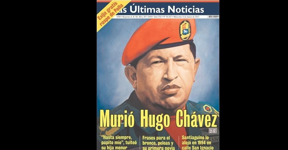 """6.mar.2013 - Jornal """"Las Últimas Notícias"""", do Chile, dedicou sua primeira página inteira à morte de Hugo Chávez. O presidente da Venezuela morreu na terça-feira (5), aos 58 anos, vítima de um câncer na região pélvica"""