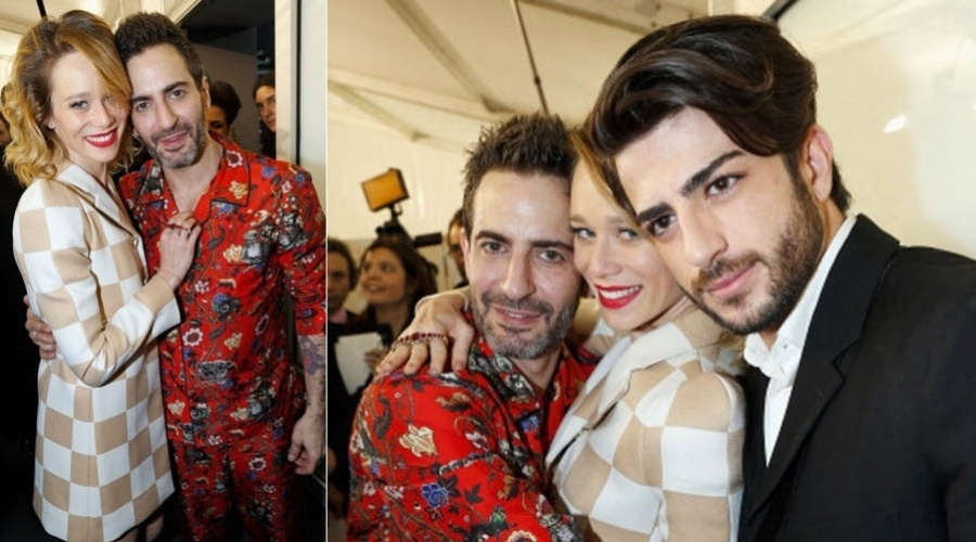 6.mar.2013 - Mariana Ximenes encontra o estilista Marc Jacobs no desfile da Louis Vuitton na Semana de Moda de Paris 