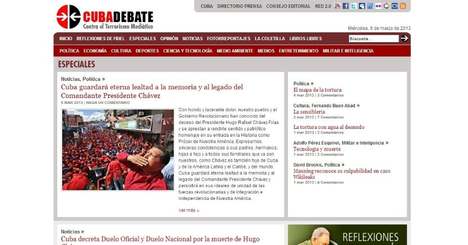 """6.mar.2013 - O portal cubano Cuba Debate ressalta o laço que o presidente venezuelano tinha com a ilha com a frase """"Cuba guardará eterna lealdade à memória e ao legado do Comandante Presidente Chávez"""". Hugo Chávez, inclusive, fez parte de seu tratamento contra o câncer em Cuba"""
