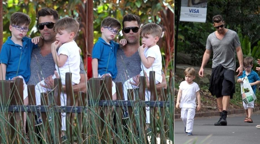 6.mar.2013 - Ricky Martin levou os filhos, os gêmeos Matteo e Valentino, a um zoológico localizado em Sydney, Austrália