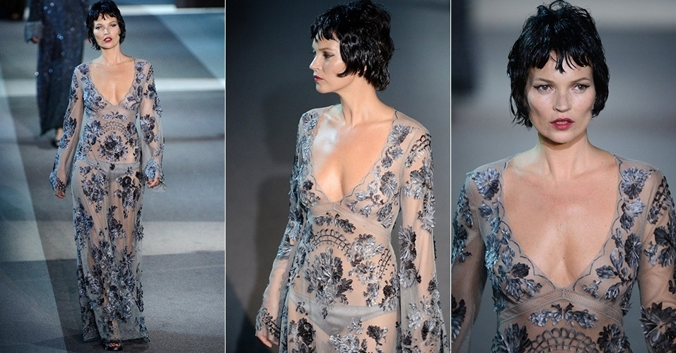 Kate Moss apresenta look da Louis Vuitton para o Inverno 2013 durante a semana de moda de Paris (06/03/2013)