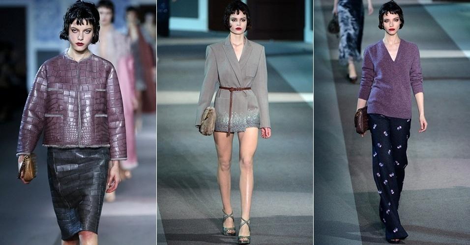 Modelos apresentam looks da Louis Vuitton para o Inverno 2013 durante a semana de moda de Paris (06/03/2013)
