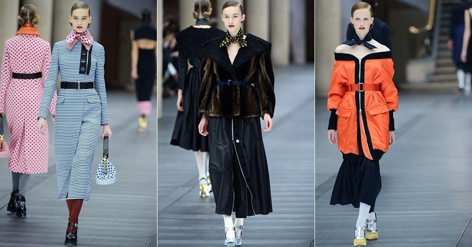 Modelos apresentam looks da Miu Miu para o Inverno 2013 durante a semana de moda de Paris (06/03/2013)