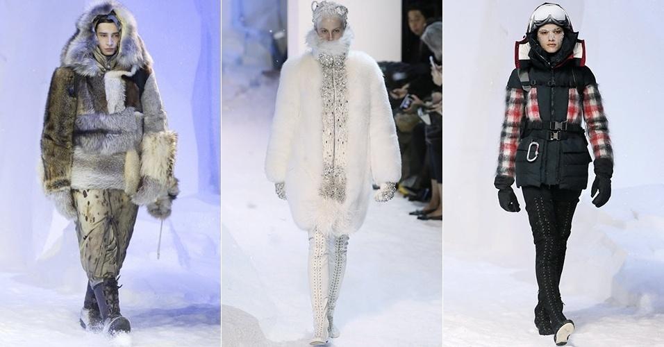 Modelos apresentam looks da Moncler Gamme Rouge para o Inverno 2013 durante a semana de moda de Paris (06/03/2013)