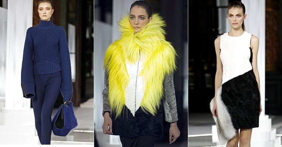 Modelos apresentam looks da Vionnet para o Inverno 2013 durante a semana de moda de Paris (06/03/2013)