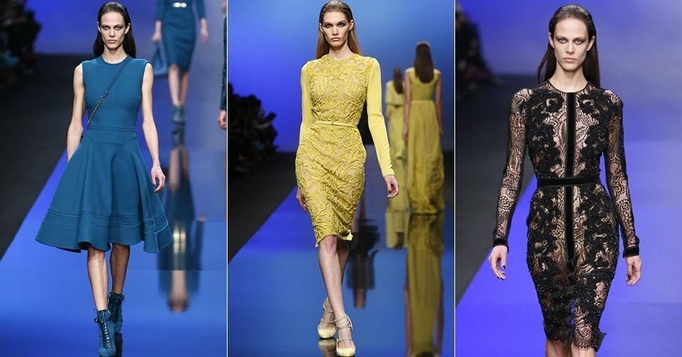 Modelos apresentam looks de Elie Saab para o Inverno 2013 durante a semana de moda de Paris (06/03/2013)