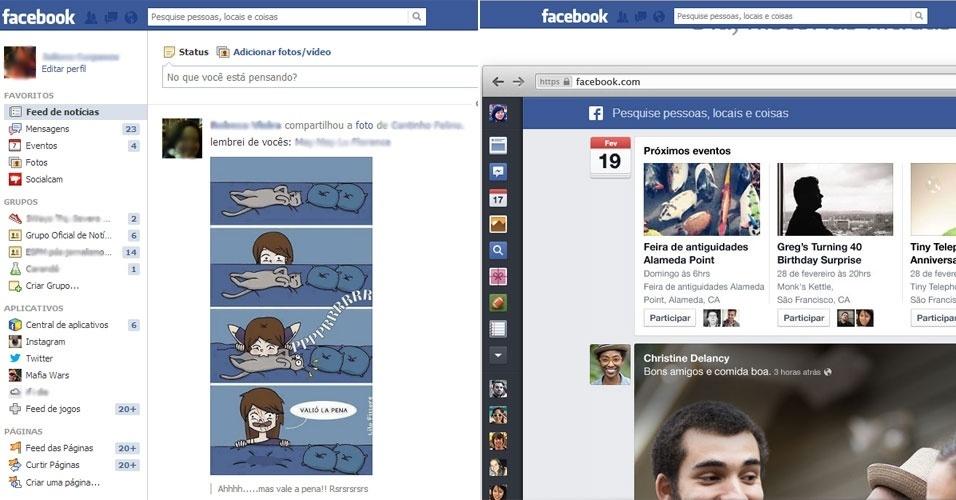 A barra lateral esquerda -- onde aparecem mensagens, eventos e grupos -- via mudar nessa nova versão. À esquerda, como ela é hoje (onde cada ícone é descrito com uma frase). À direita, como vai ficar (apenas imagens indicam qual é aquele recurso)