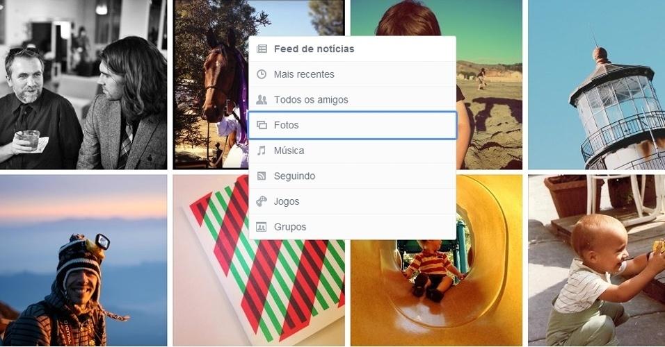 Nova interface Facebook