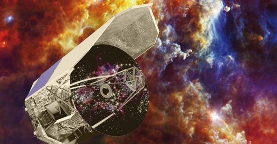 """7.mar.2013 -  O Herschel, telescópio espacial da Agência Espacial Europeia (ESA, na sigla em inglês), vai ficar """"cego"""" após reunir um vasto catálogo de dados e imagens do espaço. Seu estoque de gás hélio - usado para abastecer o refrigerador que mantém os detectores especiais do equipamento em temperaturas muito baixas - deve acabar nas próximas semanas, encerrando as atividades após três anos. Acima, montagem coloca o telescópio sobre a Nebulosa da Rosette, região de formação de estrelas a 5.000 anos-luz da Terra"""