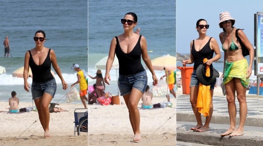 8.mar.2013 - Grávida de três meses, Guilhermina Guinle curtiu praia na zona sul do Rio acompanhada da amiga, Alexia Dechamps