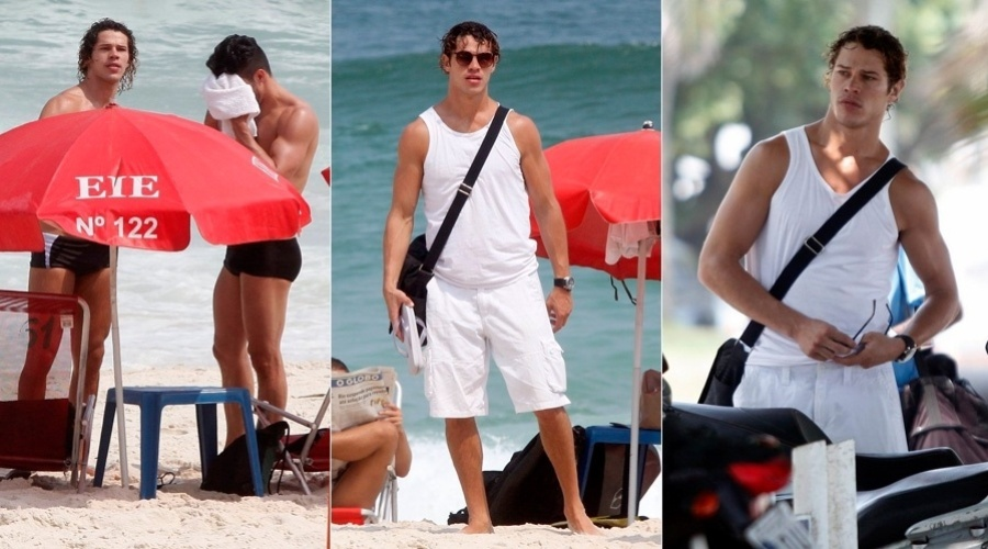 """8.mar.2013 - José Loreto curtiu praia acompanhado de um amigo na Barra da Tijuca, zona oeste do Rio. O ator em breve poderá ser visto em """"Flor do Caribe"""""""