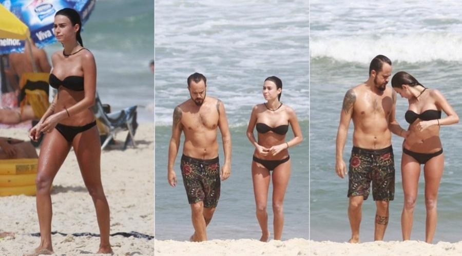 8.mar.2013 - Thaila Ayala e Paulinho Vilhena curtiram praia na Barra da Tijuca, zona oeste do Rio
