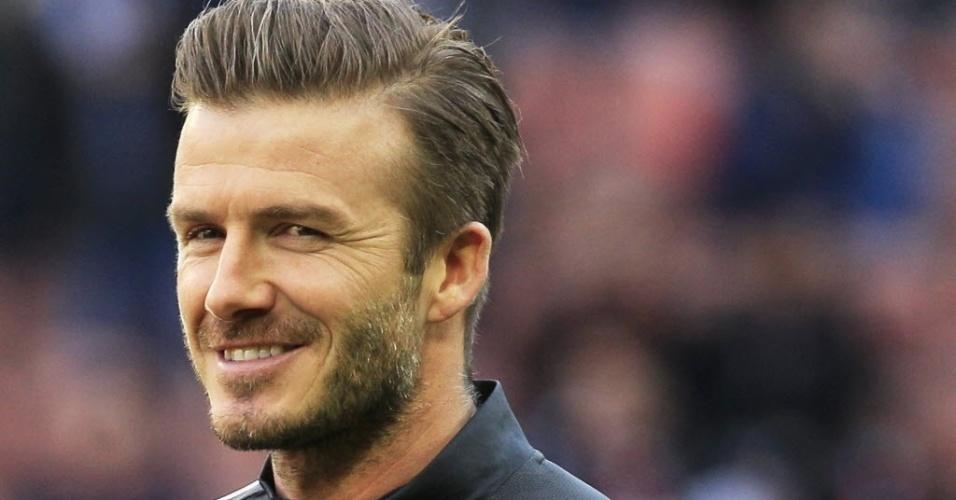 09.mar.2013 - David Beckham começou a partida do PSG contra o Nancy no banco de reservas, pelo Campeonato Francês