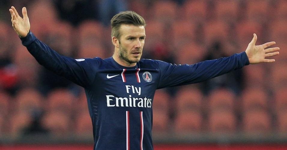 09.mar.2013 - David Beckham entrou no final da partida entre PSG e Nancy, pelo Campeonato Francês