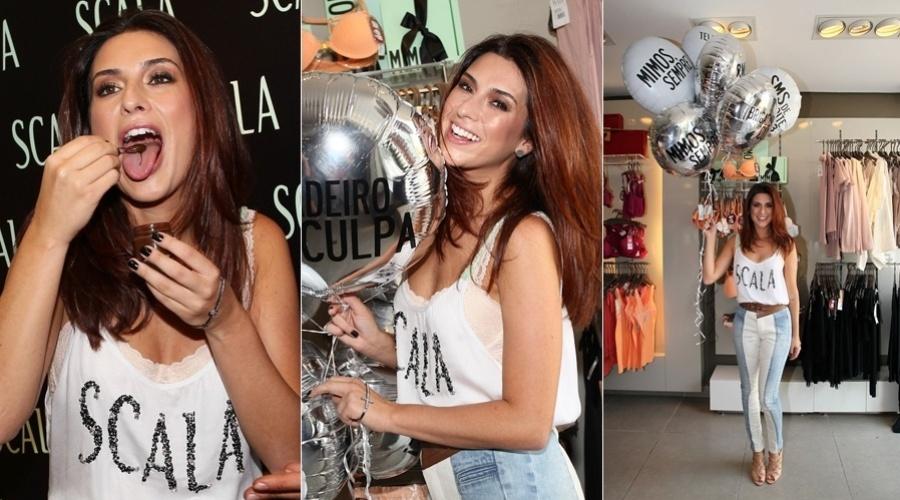 9.mar.2013 - Fernanda Paes Leme prestigiou o lançamento de uma coleção de roupas femininas em São Paulo. A atriz de 'Salve Jorge