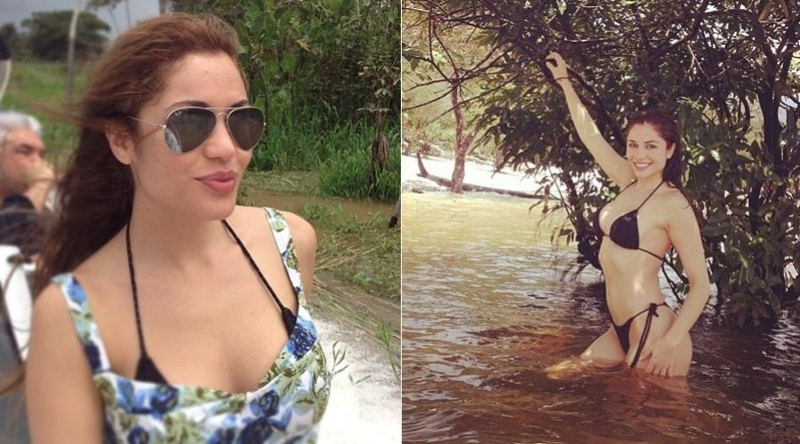 9.mar.2013 - Maria Melilo nadou no rio Amazonas. A imagem foi divulgada pela atriz por meio de uma rede social.